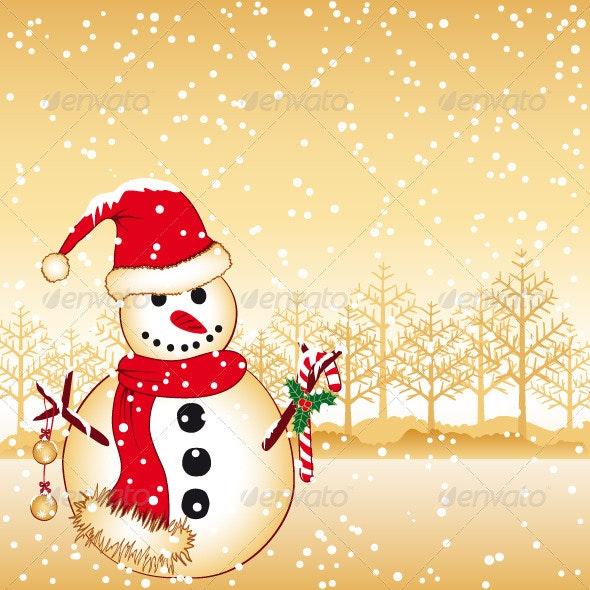 Christmas Greeting Snowman on White Snow Land - Christmas Seasons/Holidays