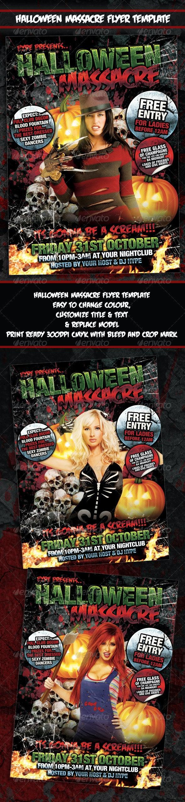Halloween Massacre Flyer Poster Template - Holidays Events