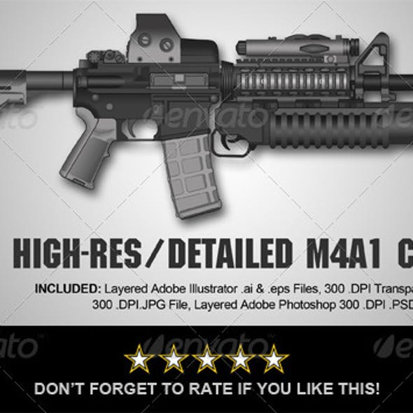 High-Res M4A1-Carbine Rifle Illustration