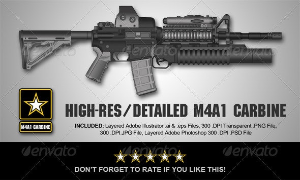 High-Res M4A1-Carbine Rifle Illustration - Objects Illustrations