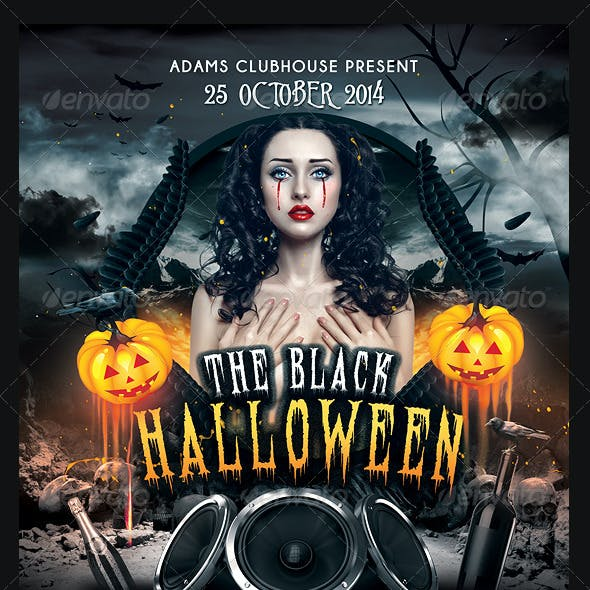 The Black Halloween Psd Flyer Template