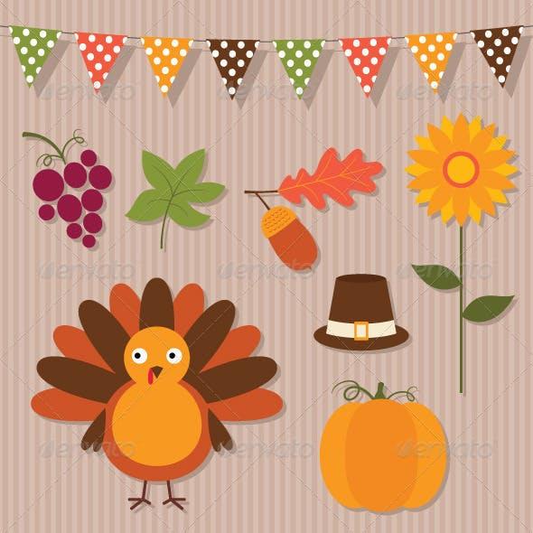 Thanksgiving vector set.