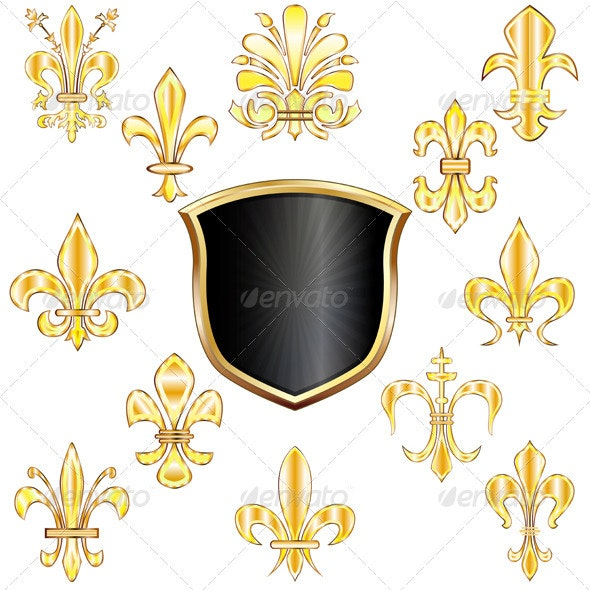 Fleur-de-lis and shield - Decorative Symbols Decorative