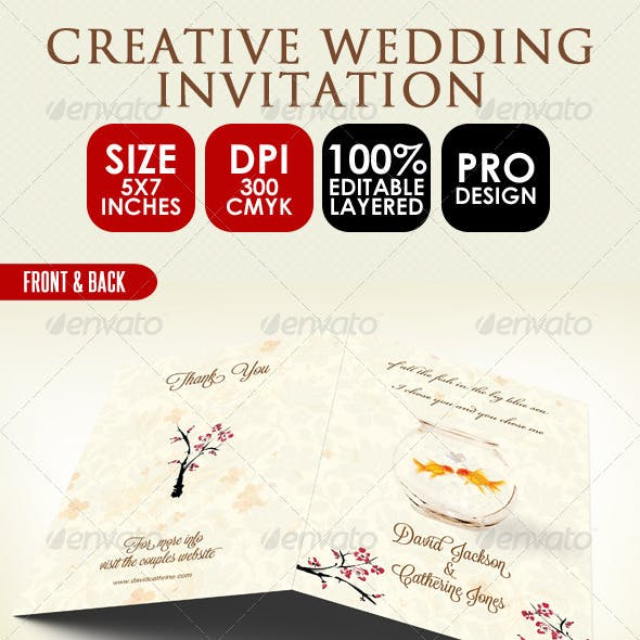 Creative Wedding Card & Order of Service PSD