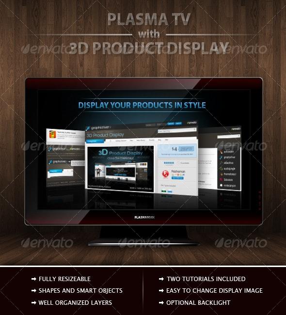 Plasma TV with 3D product Display - Tech / Futuristic Photo Templates