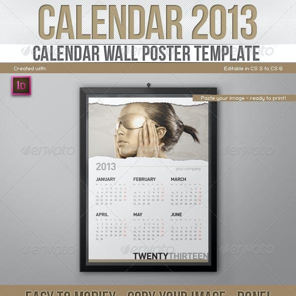 2013 Calendar // Wall Poster Template // Paper Rip