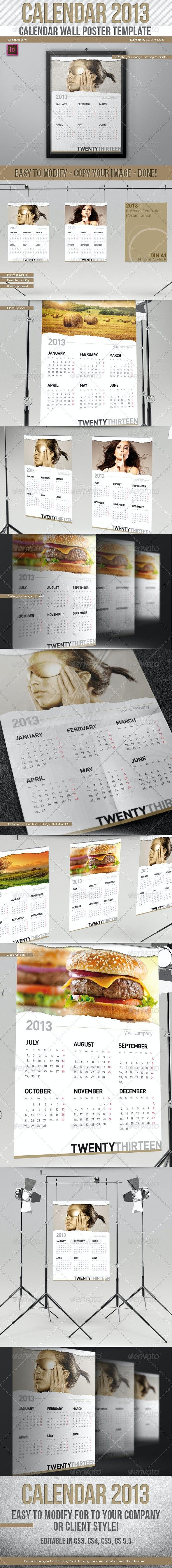 2013 Calendar // Wall Poster Template // Paper Rip - Calendars Stationery