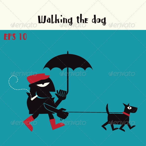 Walking the Dog & Smoking a Cigarette - Characters Vectors