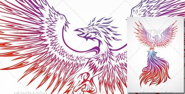 Phoenix Soaring - Tattoos Vectors