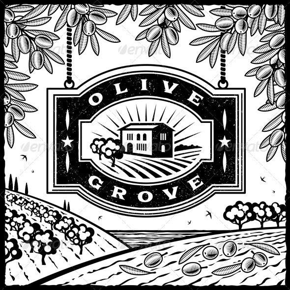 Retro Olive Grove Black And White - Decorative Symbols Decorative