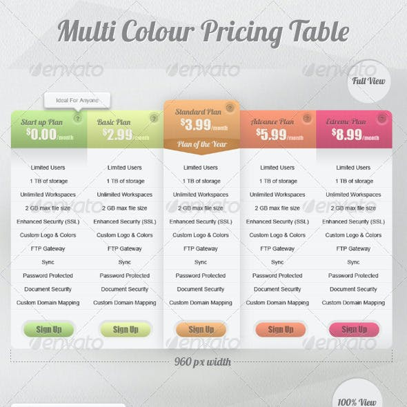 Multi Color Pricing Table