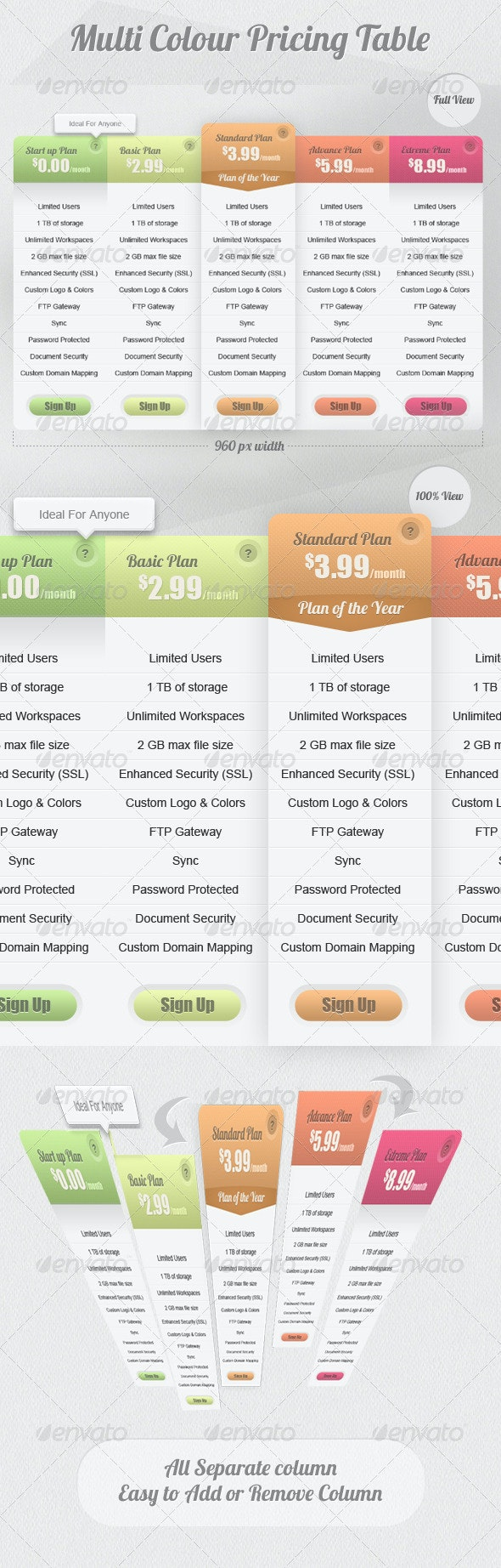 Multi Color Pricing Table - Tables Web Elements
