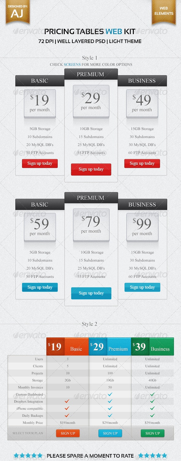 Pricing Table Kit - Tables Web Elements