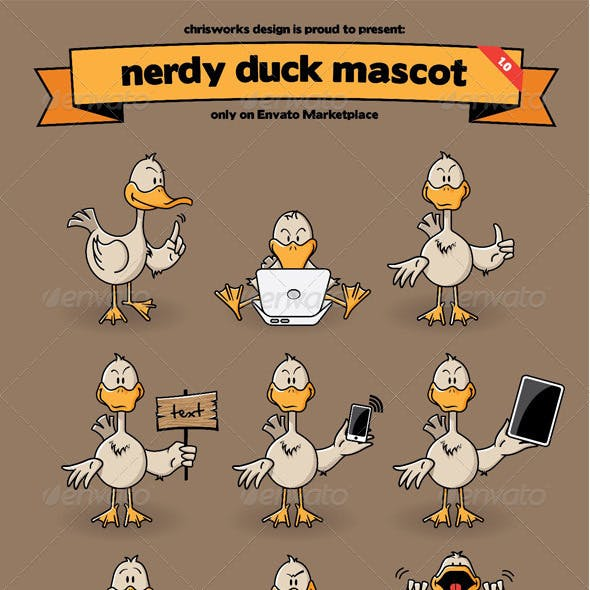 Nerdy Duck Mascot