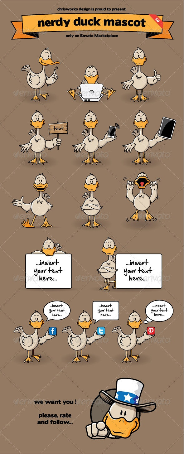 Nerdy Duck Mascot - Animals Characters