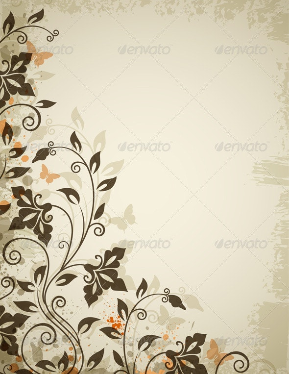 Floral Background with Flowers and Butterflies - Flourishes / Swirls Decorative