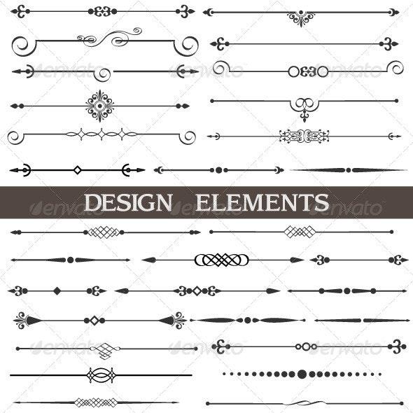 Calligraphic design elements and page decor - Flourishes / Swirls Decorative