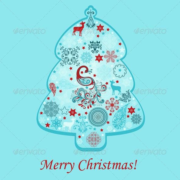 Vector  Greeting Card with Fir Tree - Christmas Seasons/Holidays