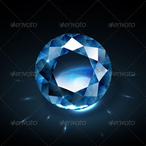 Realistic blue diamond illustration