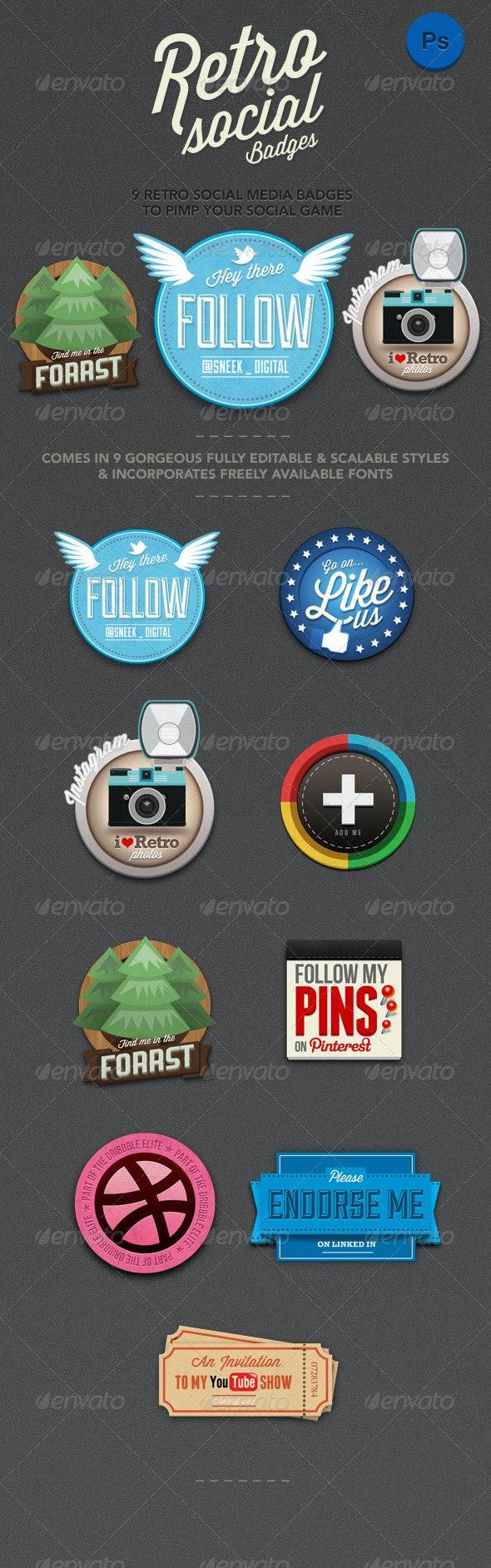 9 Retro Social Media Badges - Badges & Stickers Web Elements