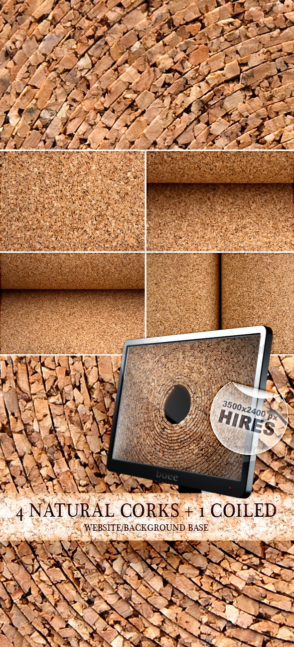 4 Natural Corks + 1 Coiled - Wood Textures