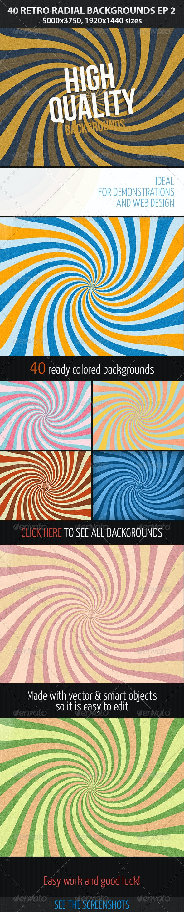 40 Retro Radial Backgrounds EP 2 - Abstract Backgrounds
