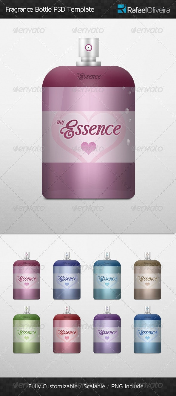 Fragrance Bottle PSD Template - Beauty Packaging