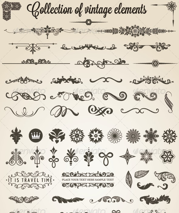 Collection of vintage elements - Decorative Symbols Decorative
