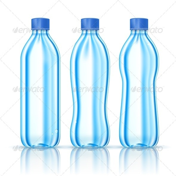 Water bottles on white - Food Objects