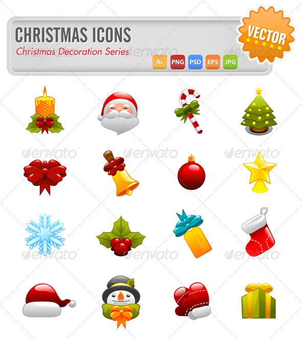 16 Christmas Vector Icons - Christmas Seasons/Holidays