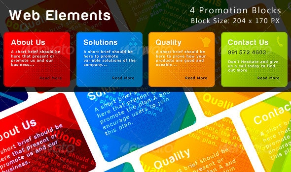 4 promoting colored blocks for web and presentatio - Miscellaneous Web Elements