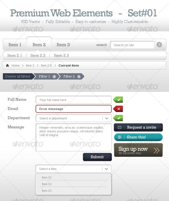 Premium Web Elements - Set#1 - Miscellaneous Web Elements