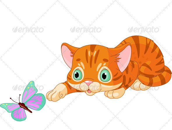 Kitten plays with the butterfly - Animals Characters
