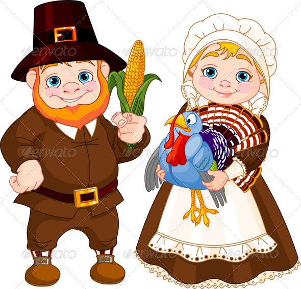 Cute Pilgrims Couple - Seasons/Holidays Conceptual