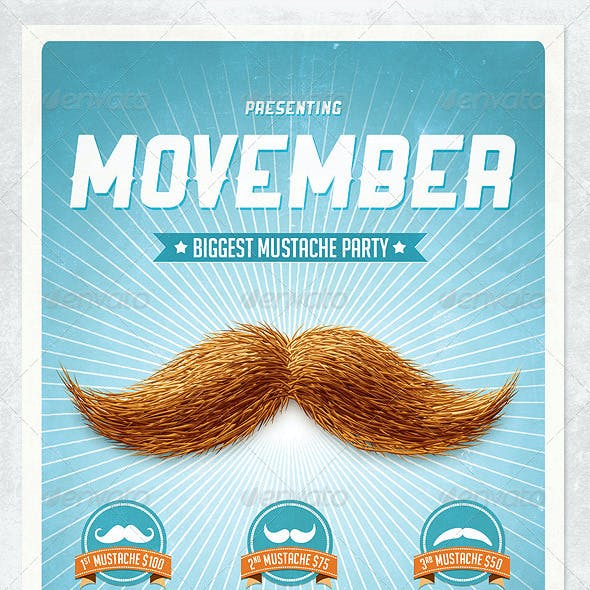 Movember Retro Party Flyer Template