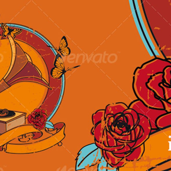 Vintage vignette with gramophone and roses