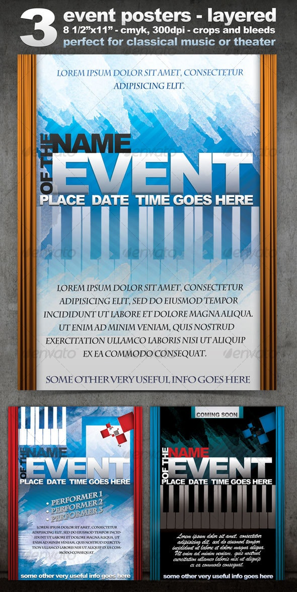 Three Event Flyers/Posters - Layered, CMYK, 300dpi - Clubs & Parties Events