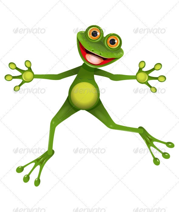Happy green frog - Animals Characters