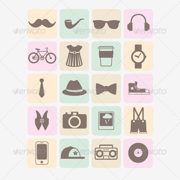 20 Vector Hipsters Icons