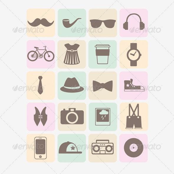 20 Vector Hipsters Icons - Decorative Symbols Decorative