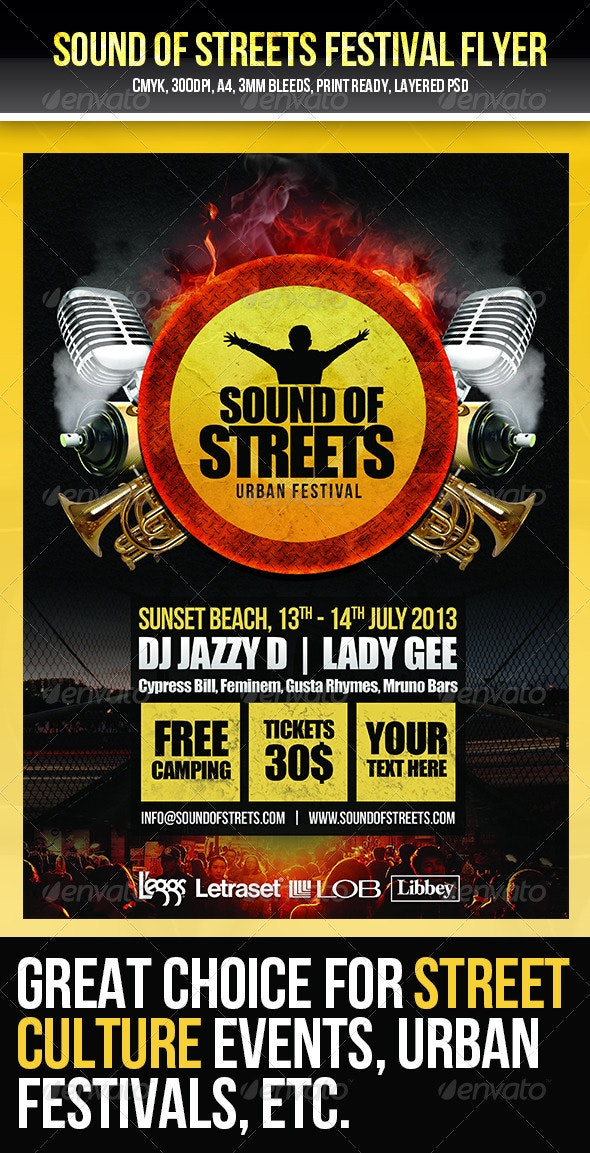 Urban Music Festival Flyer Template - Concerts Events