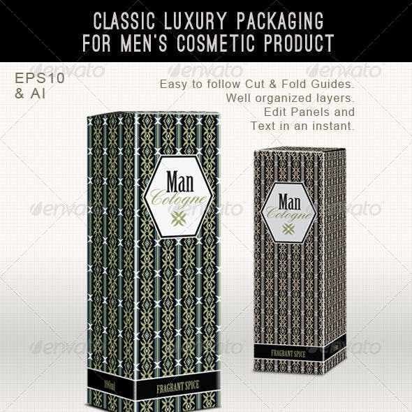 Men's Fragrance or Cosmetic Box Template