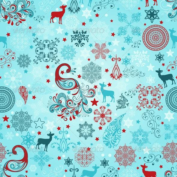 Vector Seamless Christmas Pattern - Patterns Decorative