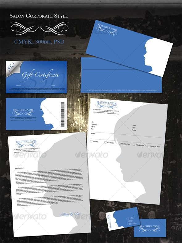 Salon Corporate Style - Stationery Print Templates