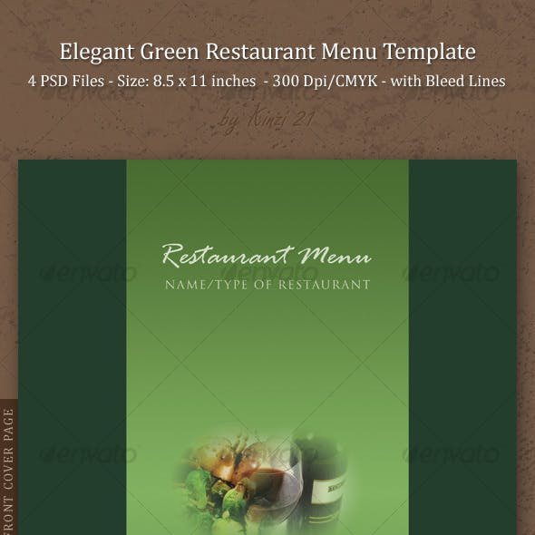 Elegant Green Restaurant Menu Template