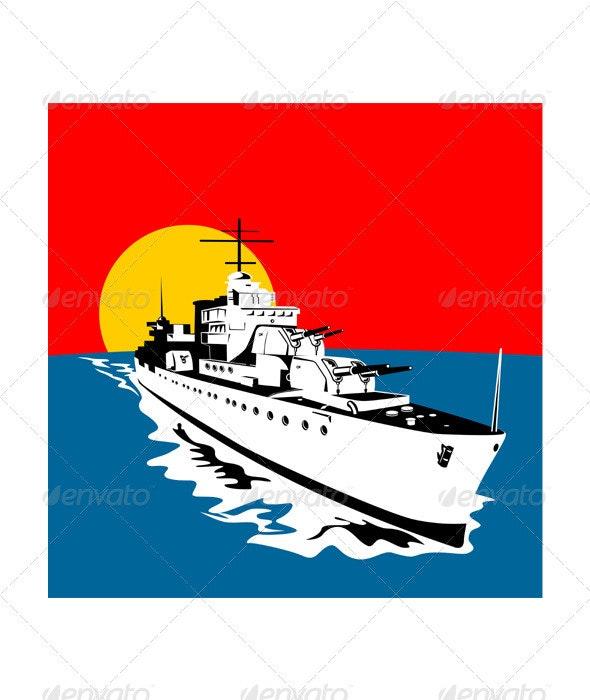World War Two Battleship Warship Cruiser Retro  - Man-made Objects Objects