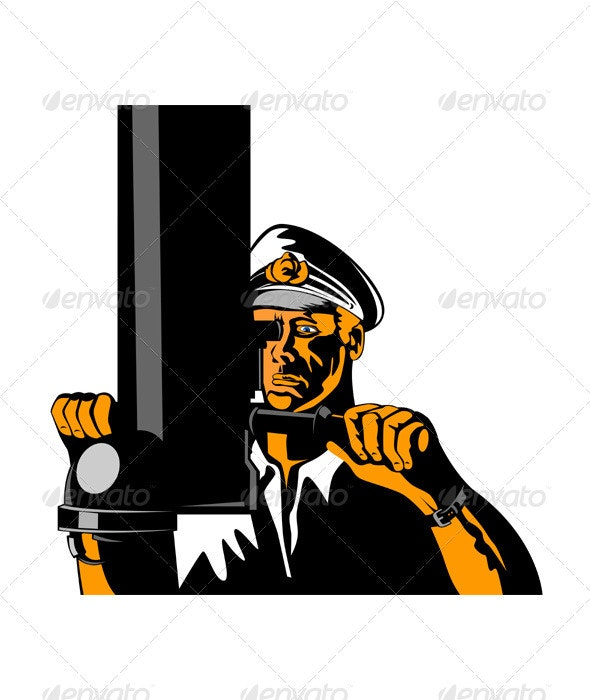 Navy Captain Sailor With Periscope  - People Characters