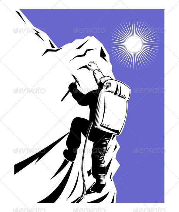 Mountain Climber Climbing Retro - Sports/Activity Conceptual