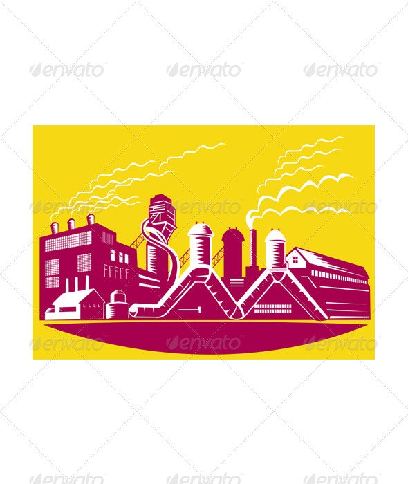 Factory Building Power Plant Retro  - Industries Business