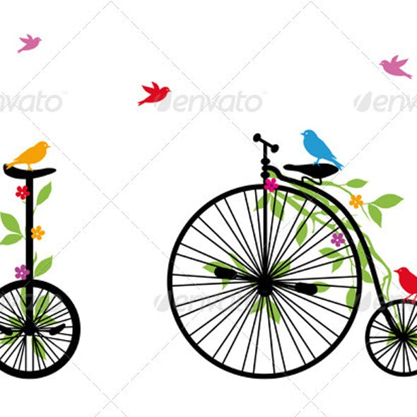 Birds On Old Bicycle, Vector Illustration